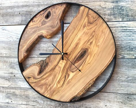 Large Farmhouse Wooden Wall Clock Modern Farmhouse Style Rustic Oversized Wood Wall Decor, Last Name Established Gift for Home or Office - Wall Clock Wall Clock Wooden, Rustic Wall Clocks, Unique Wall Clocks, Wood Clocks, Wood Wall Decor, Rustic Walls, Wooden Walls, Big Wall Clocks, Antique Clocks