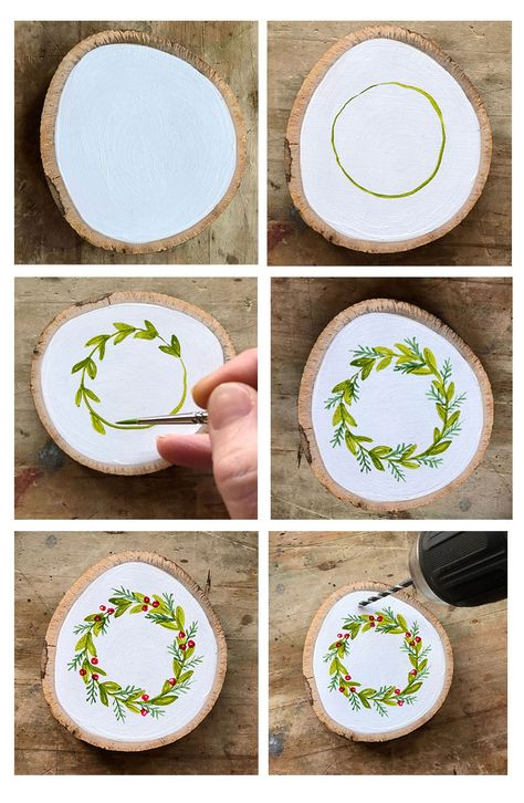 Learn How to Paint Your Own Hand Painted Christmas Wreath Ornament - Steine bema., Learn How to Paint Your Own Hand Painted Christmas Wreath Ornament - Steine bemalen - Painted Christmas Ornaments, Wooden Ornaments, Hand Painted Ornaments, Nativity Ornaments, Handmade Ornaments, Handmade Wreaths Christmas, Farmhouse Christmas Ornaments Diy, Christmas Decorations Diy Crafts, Wooden Christmas Crafts