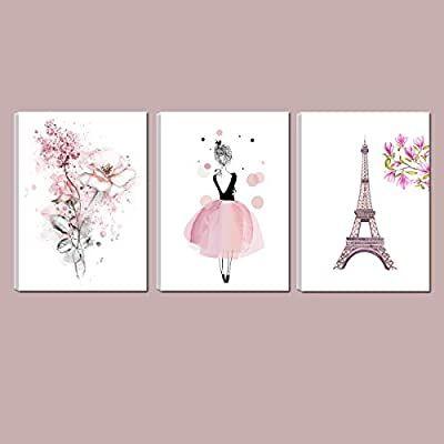 Amazon Com Cute Pink Ballerina Dancer Girl Prints Paris Tower Flower Canvas Art Prints For Bedroom P Wall Art Decor Prints Flower Canvas Art Playroom Wall Art