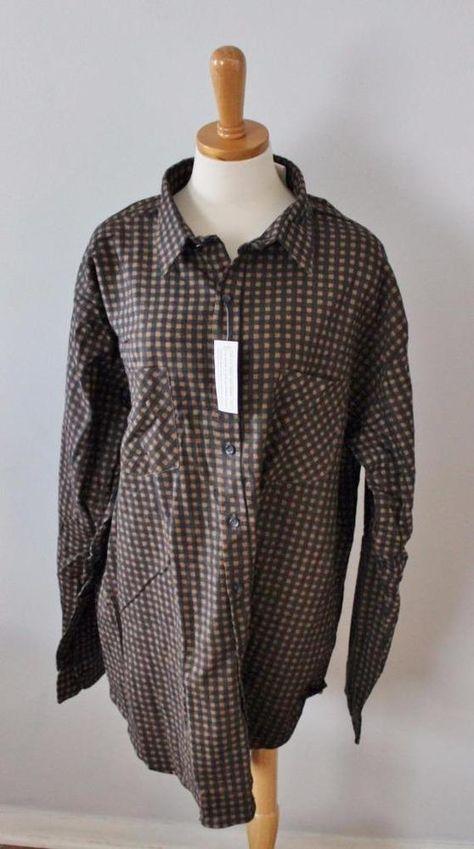 f6723a6f7708 Vtg Ozark Trail gingham Flannel Shirt Men 2XL tall brown Black check nwt NOS  F5  OzarkTrail  ButtonFront