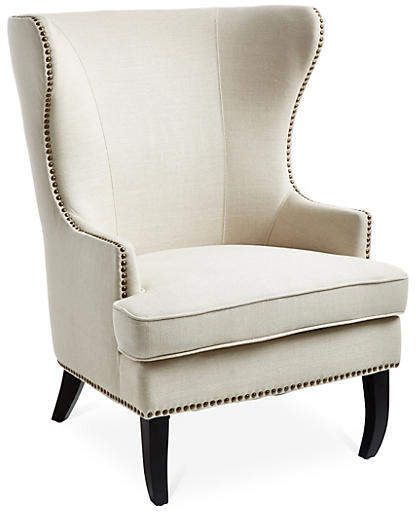 One Kings Lane Clifford Wingback Chair Oatmeal Linen Linen Wingback Chair Wingback Chair Cheap Dining Chairs