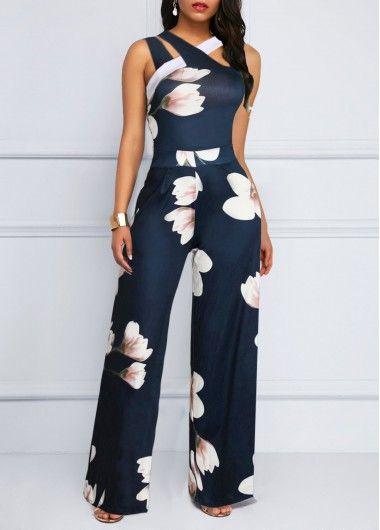 Cheap Navy Blue Jumpsuit Sleeveless Jumpsuit Floral Print Jumpsuit Fashion Jumpsuit for Women – XL Navy Blue Jumpsuit Sleeveless Jumpsuit .