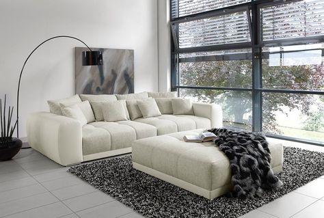 Big Sofa In Grau Weiß Webstoff Kunstleder Günstig Online