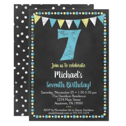 Blue Yellow Chalkboard 7th Birthday Invitation Zazzle Com Birthday Invitations Boy Birthday Invitations Birthday Cards