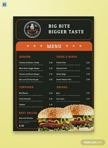 Free Burger Menu Template Word Doc Psd Indesign Apple Mac Pages Illustrator Publisher Burger Menu Food Menu Template Free Menu Templates