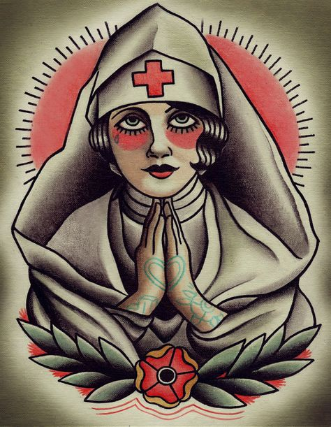 Finally bought it.  Might get some of the flapper series.  Holy Nurse Traditional Tattoo Flash by ParlorTattooPrints on Etsy, $22.00