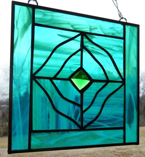 Stained Glass Abstract Panel -Green Glass -Green Faceted Jewel -St Patricks Day Decor -Window decoration -Sun Catcher -Birthday Gift OOAK on Etsy, $35.00