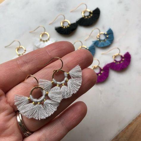 Fan Tassel Earrings Hoop Earrings Tassel Jewelry Small image 4