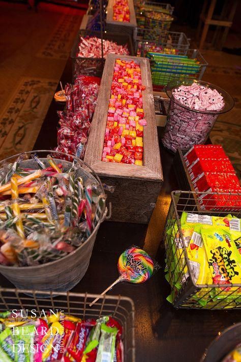 Rustic candy buffet for camp themed mitzvah parties evantine design susan beard.