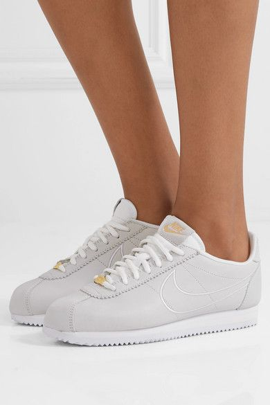 Nike Classic Cortez faux suede trimmed leather sneakers