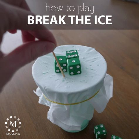 How to play the game Break the Ice – MeckMom She has other party games tooYou can find Group games and more on our website.How. Family Party Games, Family Game Night, Dice Games, Activity Games, Sleepover Party, Christmas Games, Christmas Party Games For Groups, Holiday Party Games, Activities For Kids