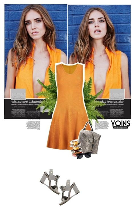 """the orange dress * yoins.com"" by georginamaybrown ❤ liked on Polyvore featuring River Island, BloggerStyle, theblondesalad, nyfwstreetstyle, NYFW2015 and yoins"