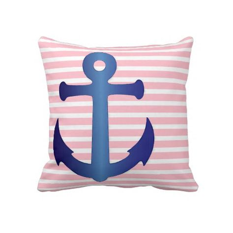 Unique, trendy, decorative and pretty nautical theme pillow. With beautiful dark navy blue anchor design on baby pastel pink and white striped pattern. For the sailor, boater, water sport, boating, sailing, ocean or sea lover. Cute girly girl's, kid's, mom's or dad's birthday present, Mother's or Father's day, or Christmas gift. Original, cool and fun pillow for the master or children's bedroom, nursery, living or family room, cabin, boat or yacht, beach house, cottage, or vacation home.