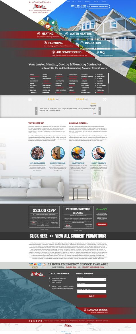 Contemporary Heating Plumbing And Air Conditioning Website Design