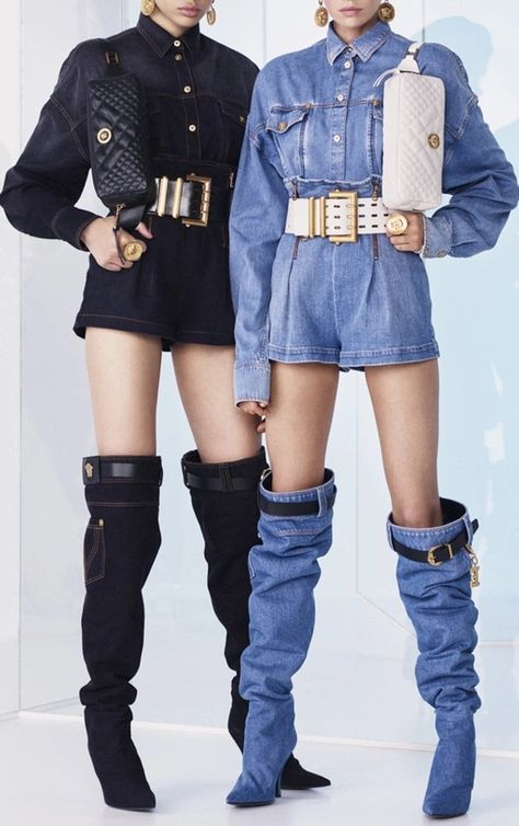 Denim Buttoned Shirts with High Waisted Mini Shorts by Versace Resort 2019