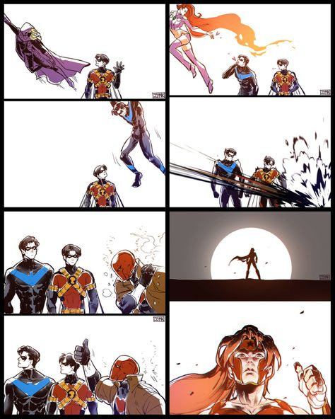 [Fan Art] Tim Drake and Stephanie Brown, Nightwing and Starfire, Redhood and Artemis by jjmk Dc Comics, Robin Comics, Robin Dc, Tim Drake Batman, Batman Robin, Batman And Batgirl, Gotham Batman, Teen Titans Starfire, Nightwing And Starfire
