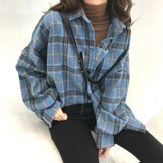 Buy Guajillo Long Sleeve Plaid Shirt at YesStyle.com! Quality products at remarkable prices. FREE Worldwide Shipping available!