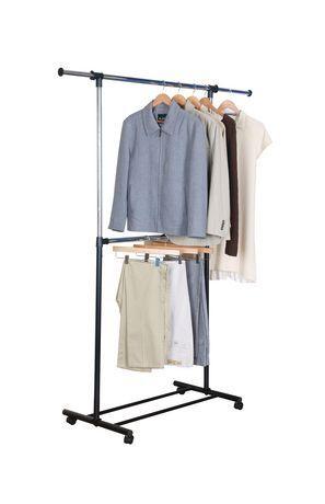 Mainstays 2 Tier Adjustable Garment Rack White Clothing Rack