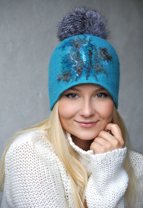 Turquoise Felted Hat Cap with Natural Fur Pompom / Gray Felted Hat / Winter Turquoise Wool Hat Cap / Handmade Felt Wool Hat with gray pompom
