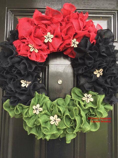 Juneteenth decor, african American flag wreath, Juneteenth, Black pride flag