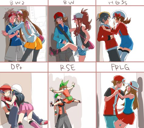 pokemon couples< I ship the top row and leaf and fire but I think May and drew are better and I luv dawn and satoshi!