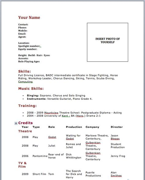 Sample Of Acting Resume Template - http\/\/wwwresumecareerinfo - musical theatre resume template