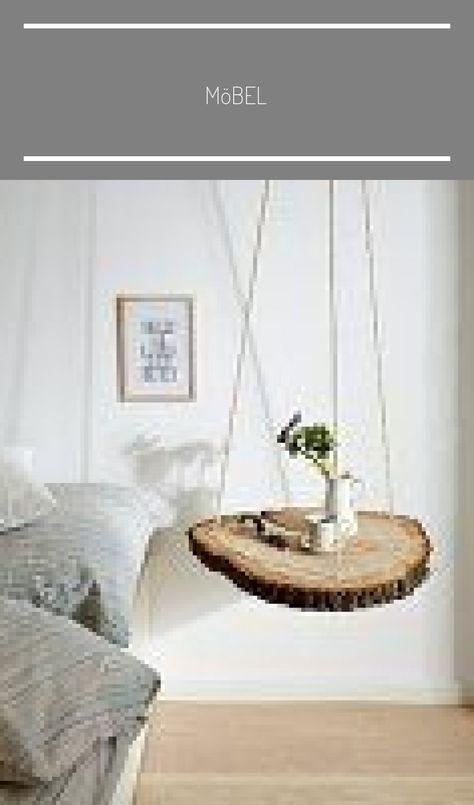Baumscheibe An Seilen Aufgehangt Als Nachttisch Eingangsbereich