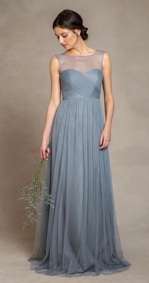 Slate blue bridesmaid dress, illusion neck, elegant.