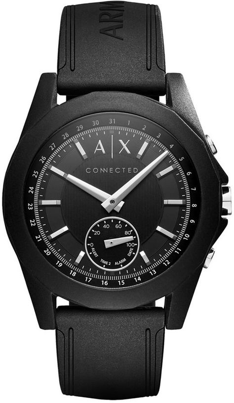 Armani Exchange Men s Connected Black Silicone Strap Hybrid Smart Watch 44mm de2f582082