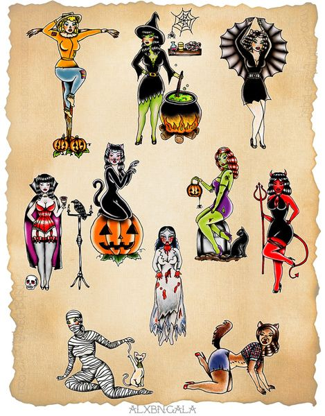 Pin up halloween flash tattoo ideas Halloween Pin Up, Halloween Horror, Vintage Halloween, Halloween Cookies, Halloween Tattoo Flash, Cute Halloween Tattoos, Tattoos Skull, Pin Up Tattoos, Body Art Tattoos