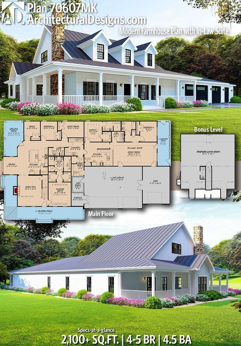 Architectural Designs Farmhouse Plan 70607mk Gives You 4 5 Bedrooms 4 5 Baths And 2 Modern Farmhouse Plans House Plans Farmhouse Multigenerational House Plans