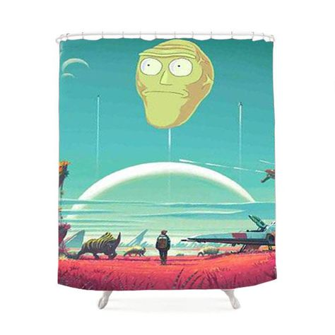 No Man S Sky Meets Rick And Morty Shower Curtain Tired Of