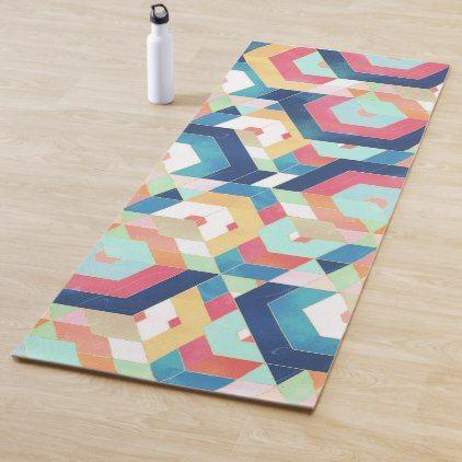Modern Geometric Abstract Pattern Yoga Mat Zazzle Com Abstract