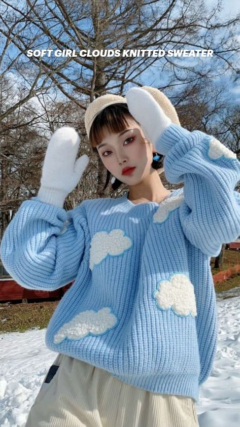 SOFT GIRL CLOUDS KNITTED SWEATER