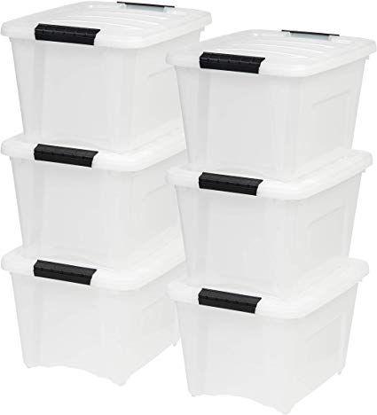 Iris Usa Inc Tb 17 19 Quart Stack Pull Box Multi Purpose Storage Bin 6 Pack Pearl Multipurpose Storage Plastic Container Storage Stackable Storage Bins