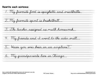 Cursive Sentences Worksheets Printable
