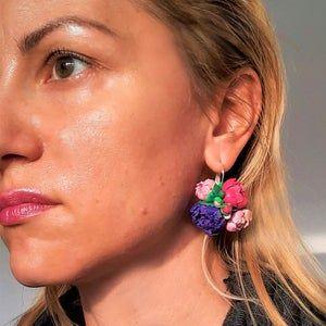 Flower pendant Purple rose Jewelry Set Polymer clay flowers Woman/'s gift Woman pendant Polymer clay jewelry Flower earrings