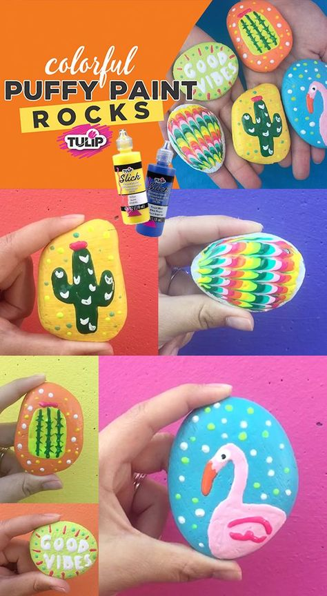 How to paint rocks - these painted rocks designs are so easy and fun to make with Tulip Puffy Paint - how to use dimensional paint on rocks #dimensionalpaint #tulip #paintedrocks #rockpainting #paintingrocks #rocks #flamingo