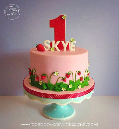 st Birthday with a strawberry themed party by CakeyCake
