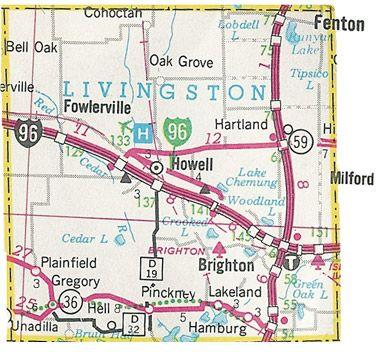 Livingston County Michigan Map Brighton Howell Fowlerville