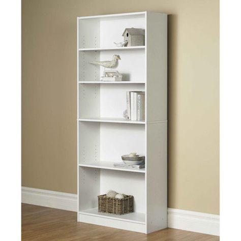Bookcase Tall Wood Bookshelf Modern Display Bookcases Large 5-Shelf Adjustable
