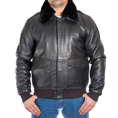 a88f8cd1aee Men s classic A-2 Bomber jacket Leather   Hide leatherGeneral   Genuine 100%  Soft Sheep Heavy Nappa Leather Removable real fur collar (button ...