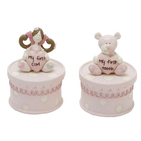 Baby Christening Products Baby Boy Ceramic Keepsake Trinket Box Resin for Tooth Curl Name Tag Shower Gift