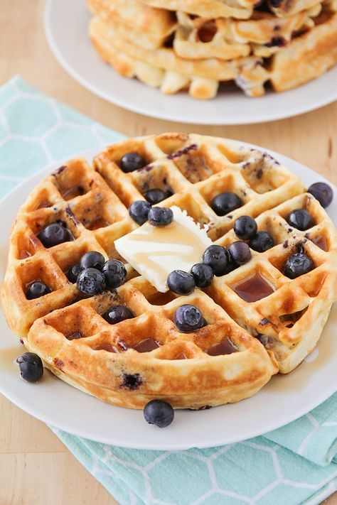Blueberry Buttermilk Waffles Buttermilk Waffles Waffle Iron Recipes Waffle Recipes