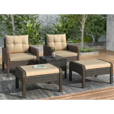 Brown 5 Piece Wicker Patio Conversation Set With Coffee Brown Cushions In 2020 Outdoor Patio Furniture Sets Patio Furniture Sets Conversation Set Patio
