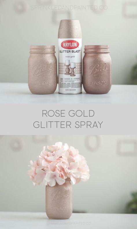 Gold Glitter Spray Paint, Copper Spray Paint, Spray Paint Colors, Spray Paint Cans, Rose Gold Glitter, Gold Glitter Wedding, Gold Mason Jars, Painted Mason Jars, Homemade Home Decor