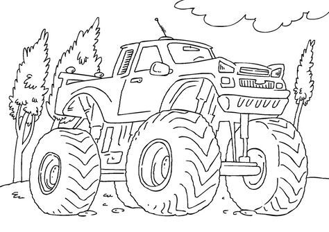 Free Printable Monster Truck Coloring Pages For Kids Malarbok Monstertruck Barn