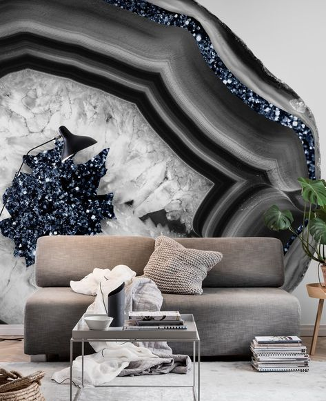 GrayWhite Agate Blue Glitter 1 Wallpaper from Happywall.com