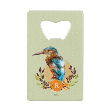 Personalized Kingfisher And Floral Design Credit Card Bottle Opener Zazzle Com Credit Card Bottle Opener Floral Design Bottle Opener Gift