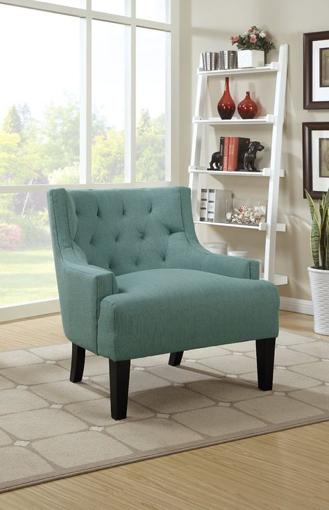 Amazon Com Poundex Bobkona Ansley Microfiber Accent Chair Light Blue Kitchen Dining Accent Chairs Accent Chairs For Living Room Chair